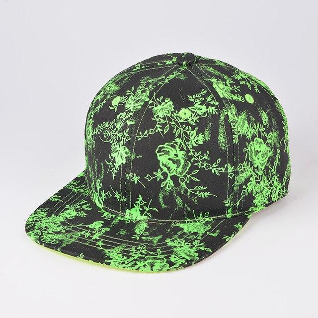Лето и осень Хорошее качество Хип-хоп cap Флуоресценции цветок Бейсболки для женщин мужчины баскетбол snapback шляпы casquette