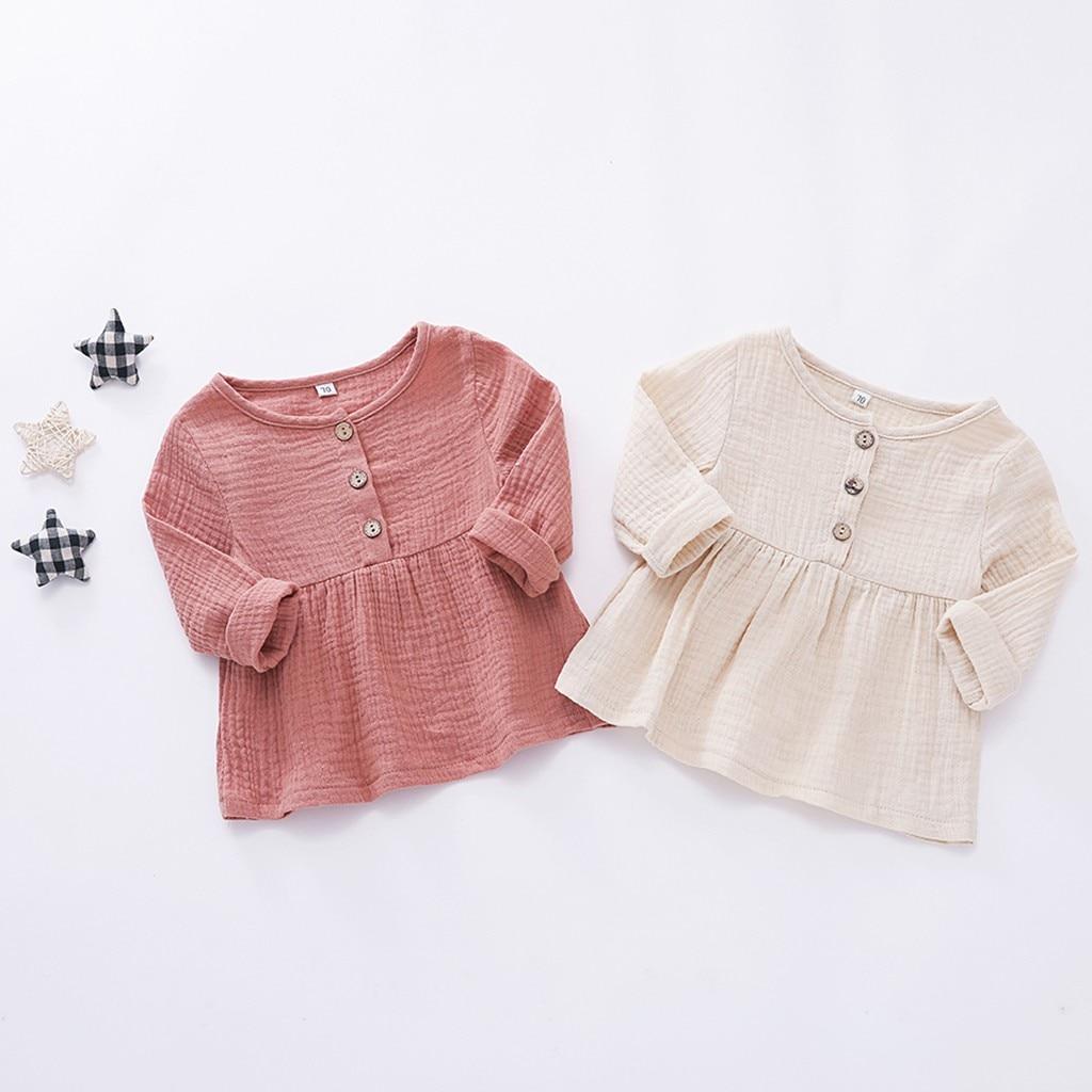 2019 SummerToddler Newborn Baby Girls Long Sleeves Button Princess Dress Clothes Photograph Dress#20z