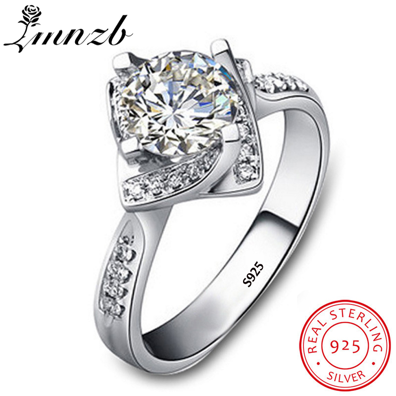 LMNZB Fashion 100% Real 925 Sterling Silver Finger Ring 1 Carat AAA Zircon Rings for Women Wedding Engagement Jewelry LRA0216