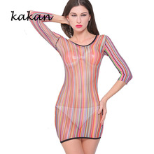 Kakan club party sexy nightclub dress high stretch tights hip hollow mesh transparent color round neck