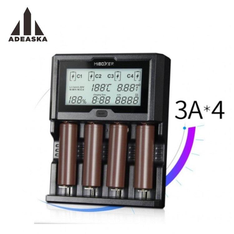 Miboxer 4 слота 3A/слот ЖК-экран зарядное устройство для li-ion/Ni-mh/Ni-Cd/LiFePO4 26650 14500 18650 AAA AA аккумуляторные батареи