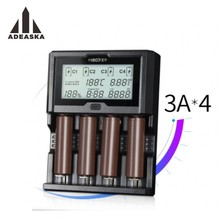 Miboxer 4 Yuvaları 3A/yuvası LCD Ekran Pil Şarj Li-Ion/Ni-Mh/Ni-Cd/LiFePO4 18650 14500 26650 AAA AA şarj edilebilir piller