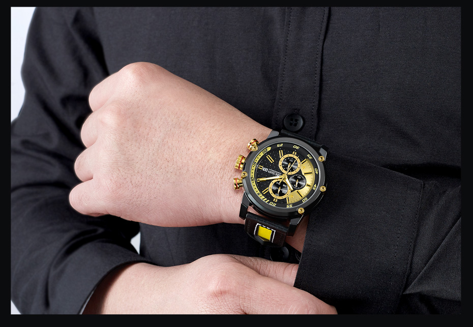 Topdudes.com - MEGIR Military Style Luxury Quartz Sport Chronograph Watch