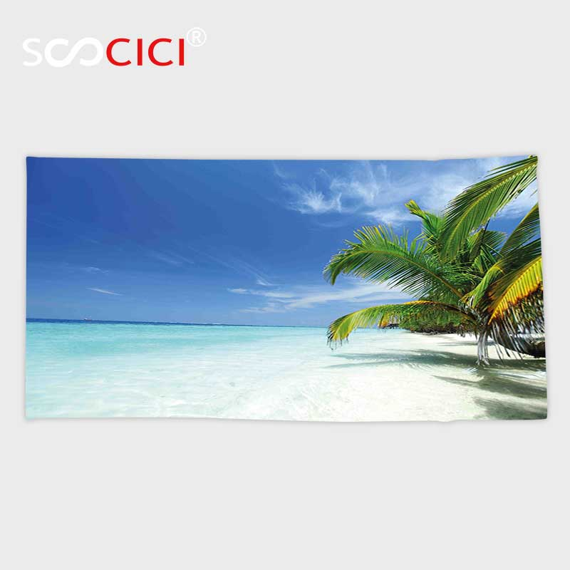 Custom Microfiber Ultra Soft Bath/hand Towel,Tropical Island with Sandy Beach Palm Trees Paradise Holiday Summer Picture