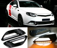 2 pcs High quality White+Yellow LED DRL Waterproof ABS 12V Daytime Running Lights for MG 6 2009 2010 2011 2012 2013 Fog lamp