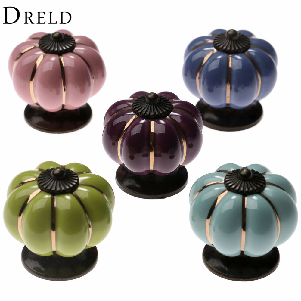 Vintage Furniture Handle Pumpkin Ceramic Door Knobs Cabinet Knobs and Handles for Furniture Drawer Cupboard Kitchen Pull Handle 8 color vintage retro ceramics drawer knob cabinet cupboard door pull handle furniture decor kitchen furniture knobs and handles