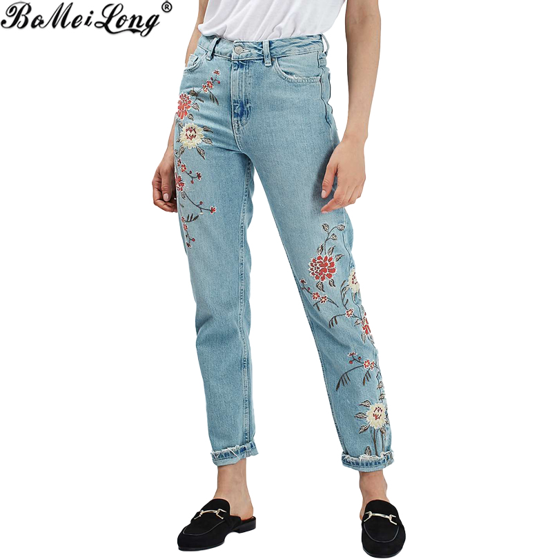 2017 New Autumn Light Blue Casual Pants Capris  Winter Flower Embroidery Jeans Female Pockets Straight Jeans Women Bottom B0585 summer new flower embroidery jeans female light blue casual pants capris 2017 autumn winter pockets straight jeans women bottom