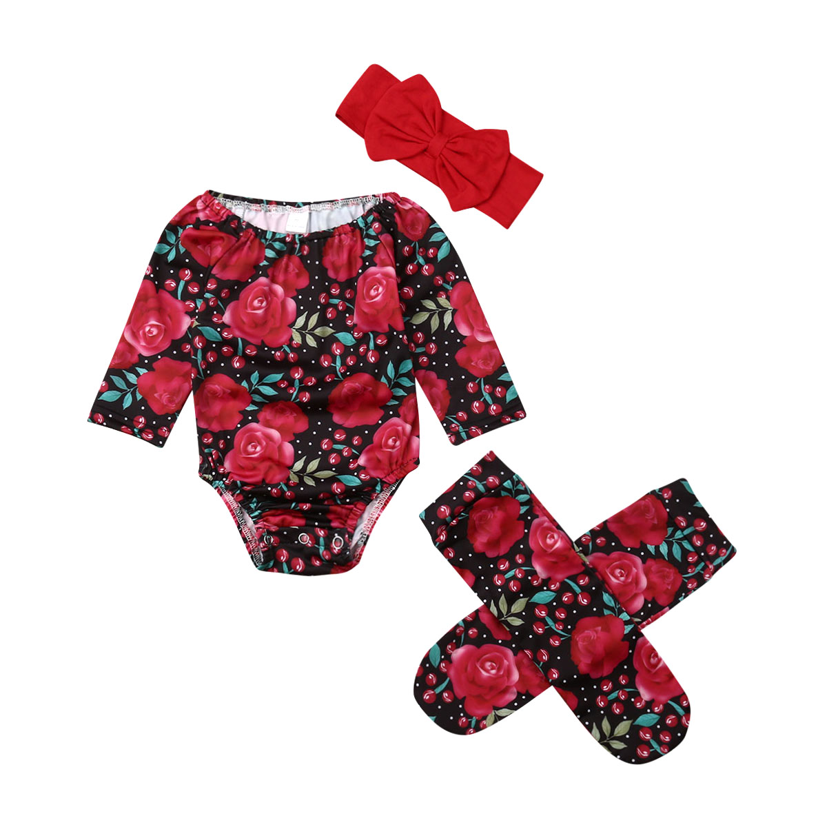 0-24M Sweet Newborn Kids Baby Girls Floral Clothes Long Sleeve   Romper   Jumpsuit Playsuit with Stockings Socks Outfit Summer