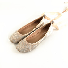 Swyovy bailarinas planas de terciopelo dorado para mujer, zapatos informales con bordado Vintage, Riband de talla grande 41, otoño 2019