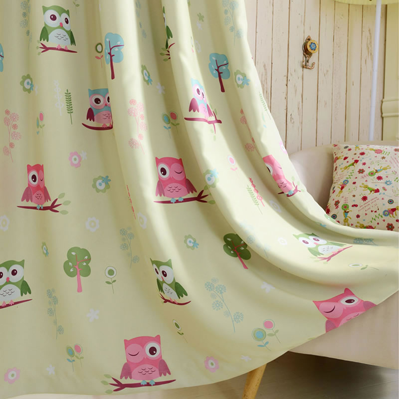 Hot Beige Kids Room Curtains For Kitchen The Bedroom Living Room Design  Baby Owl Curtains Shade Panel Blackout Drapes Fabric In Curtains From Home  U0026 Garden ...