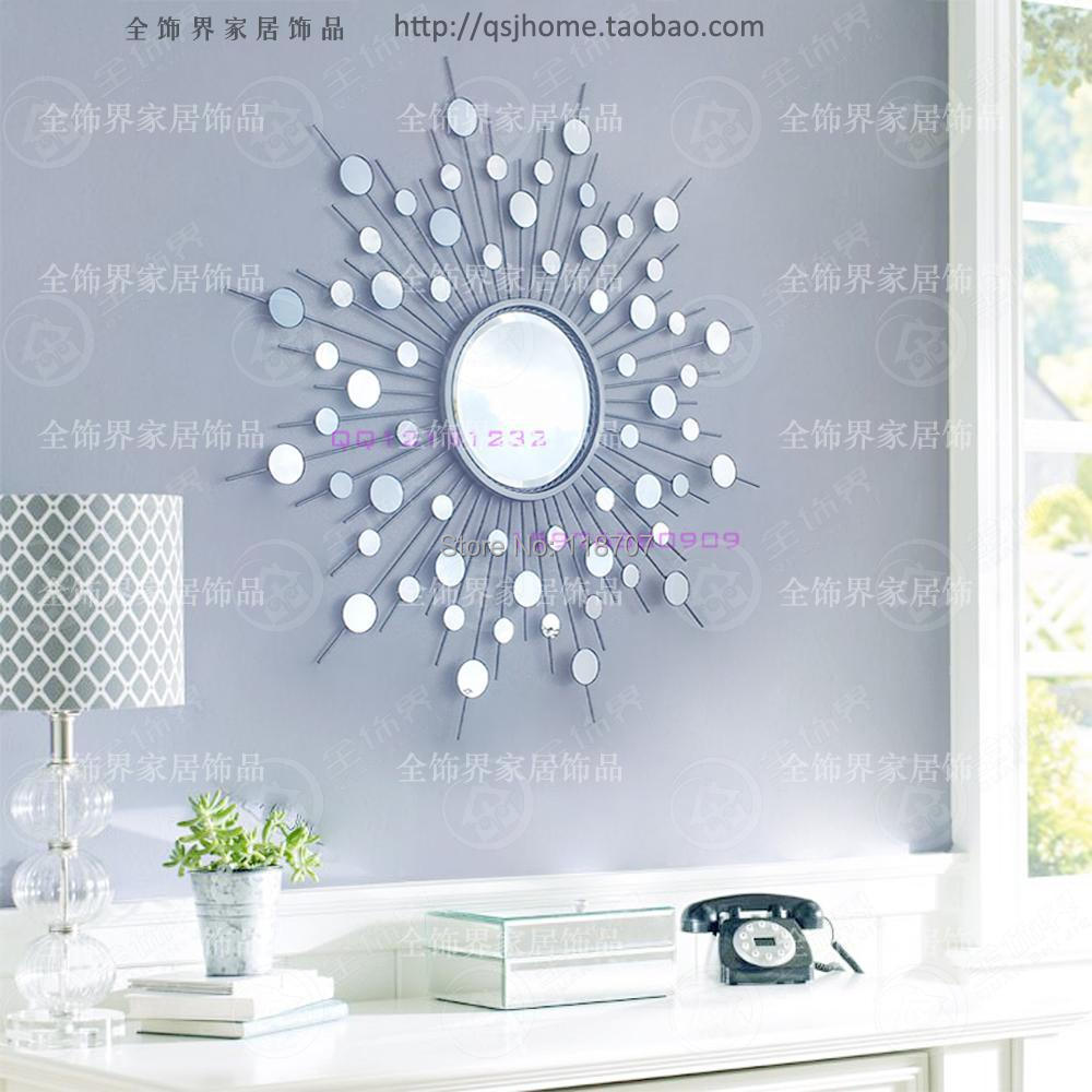 Metal Wall Mirror Decor Modern Mirrored Art Wire Decorative Sunburst