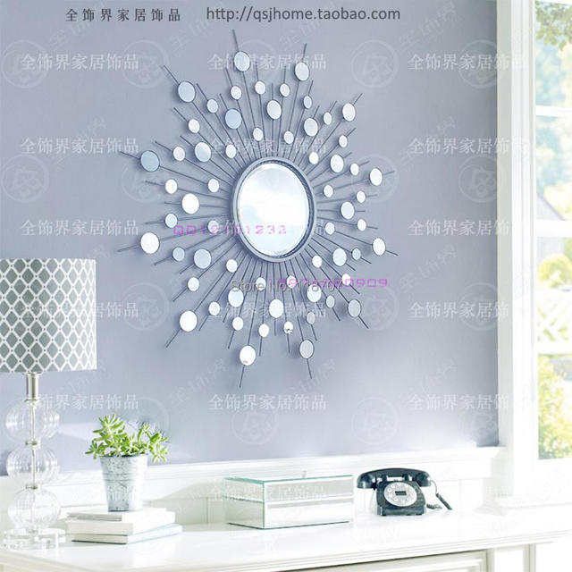 Metal Wall Mirror Decor Modern Mirrored Art Wire Decorative Sunburst