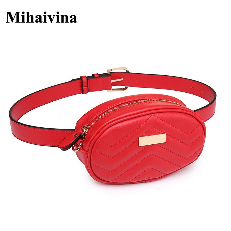 Mihaivina Women Waist Bag Fashion Lady Suede Chain Shoulder Bags Leather Hip Belt Bum Female Travel Pouch Bags Fanny Waist Pack