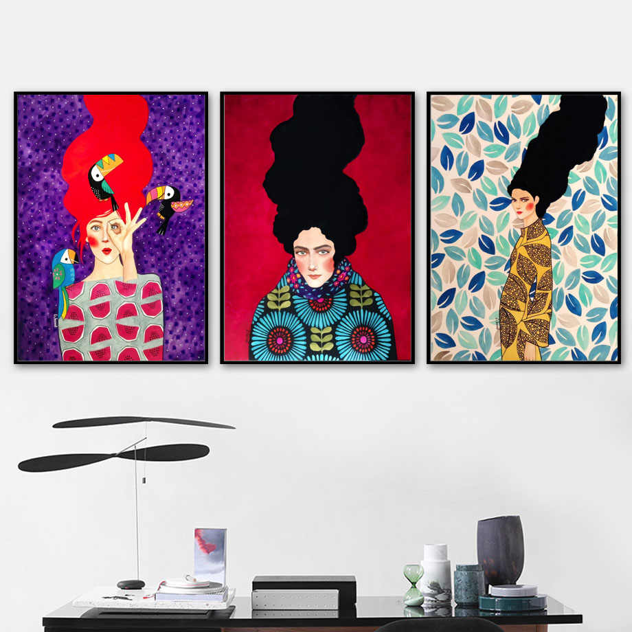 Abstract Girl Hair Flower Bird Wall Art Canvas Painting Nordic Posters And Prints Vintage Wall Pictures For Living Room Decor