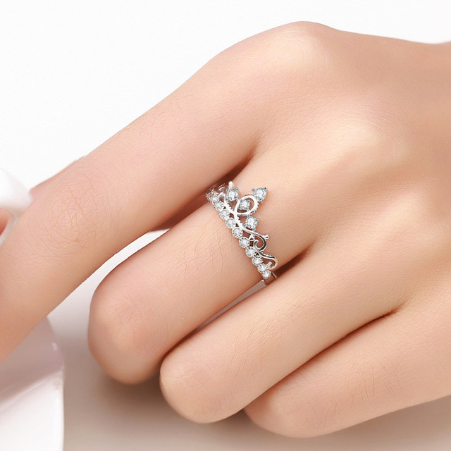 1Pc Fashion Rhinestone Crown Princess Wedding Ring Silver Color ...