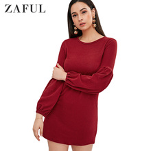 ZAFUL Sweater Dress Women Party Night Bodycon Black Clothing Sexy Mini Knitted Female Long Sleeve Spring Fall