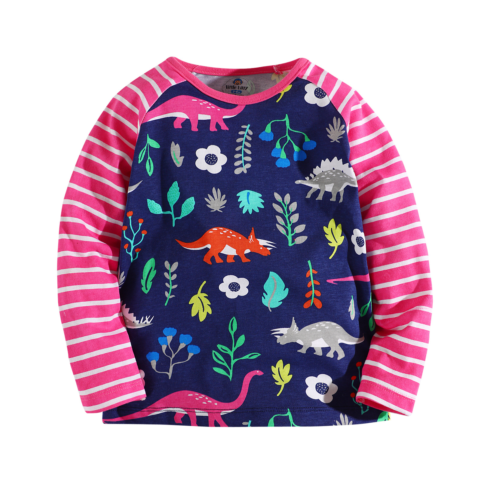 kids girl Tshirts long sleeve printing floral cotton children girl causal tops weekend comfortable T shirts 2-12yrs