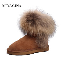 Fashion Top Quality Raccoon Fur Snow Boots Women Boots Genuine Leather Winter Warm Snow Boots