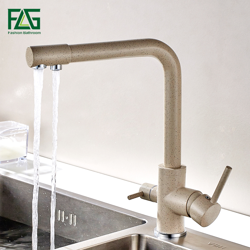 FLG Kitchen Faucet with Filtered Water Marble Kitchen mixer For Sinks Taps Solid Bras Cold Hot Swivel Drinking Water FaucetFLG Kitchen Faucet with Filtered Water Marble Kitchen mixer For Sinks Taps Solid Bras Cold Hot Swivel Drinking Water Faucet