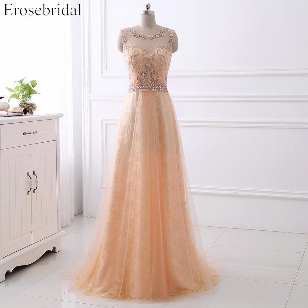 Handsome Beading   Prom     Dresses   2017 Erosebridal Lace Formal Women Evening Party Gown A Line   Dresses   Vestido De Festa Zipper Back