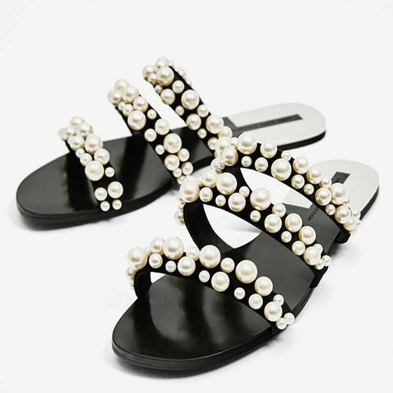Fashion Summer Beach Party Dresses shoes Fulgurant Pearl  Sandals thin Belt Roman Flat Women Flip Flops Casual Flat Slippers