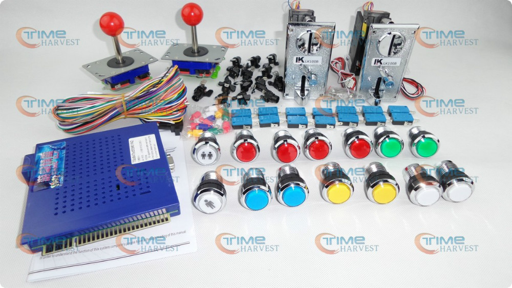 Arcade parts Bundles kit With Coin Acceptor Joystick Illuminated Button Microswitch Player Button To Build Up Arcade Cab Machine