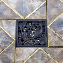 Double Dragon рыбы Drain раковины ванной комнаты бассейна масло втирают черный бронзовый цветок 5381 резные утечка душа отходов drainer трапных