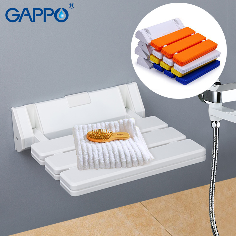 Home Improvement Gappo Wall Mounted Shower Seats White Bathroom Folding Chairs Shower Bench Stool Toilet Wall Mounted Waiting Folding Seat