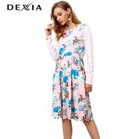 DEXIA Spring Long Sleeve Striped A Line Beach Dresses Women Floral O Neck Dress Vestido Female Striped High Waist Vadim Dresses