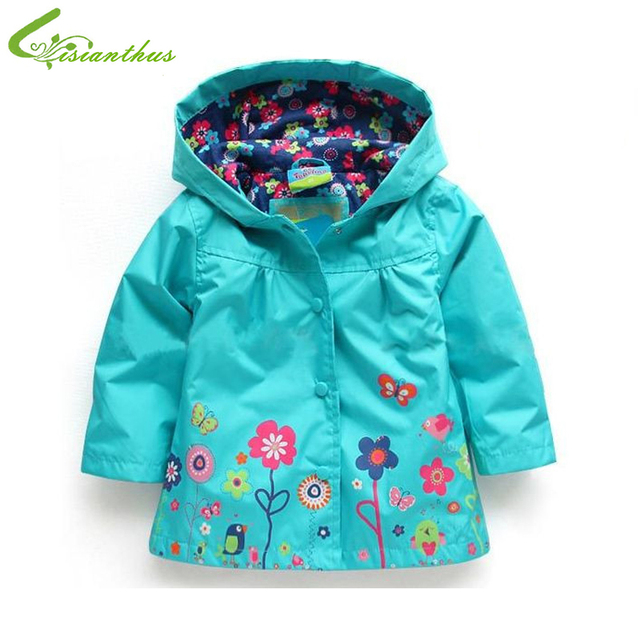 Spring Autumn Children Hoodies Baby Girls Flowers Windbreaker Jacket Kids Girls Clothes Babe Outerwear Clothing Girl Rain Coat