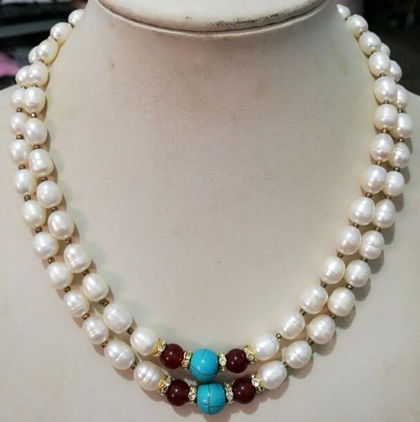 """NEW 6-7MM WHITE Cultured FRESHWATER RICE PEARL NECKLACE 18/"""" AAA"""