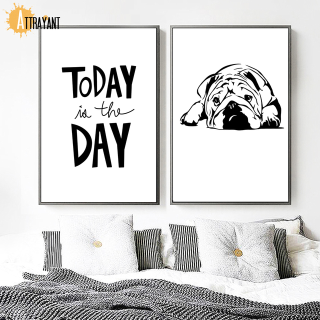 Hand Painted Cartoon Pug Dog Wall Art Canvas Painting Nordic Posters And Prints Black White Wall Pictures For Living Room Decor
