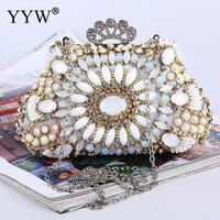 Fashion High Quality Evening Party Clutch Purse Bag Women Jewelry With Chain Shoulder Bags With Rhinestone Flower Shape White
