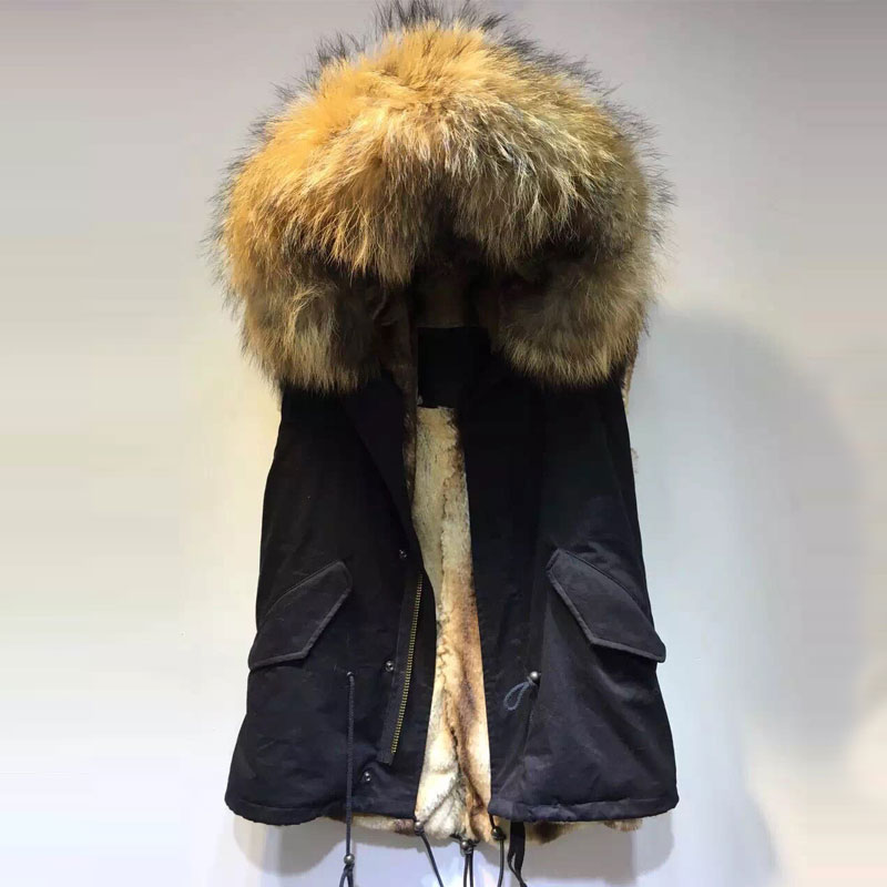 Black Short style vest jacket faux fur apricot lining with big collar