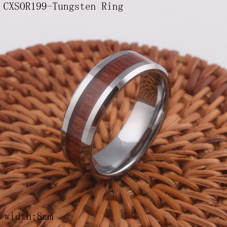 Fashion Jewelry Mens Tungsten Ring 8mm Wood Grain Band Brown Beveled Design Silver US Size 7 to 13 Drop Shipping