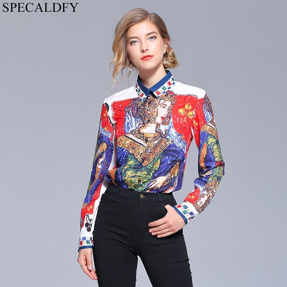 2018 Autumn   Shirts   Women Long Sleeve   Blouses     Shirt   Runway Designer Tops For Women Top Brand Luxury Print   Blouse   Blusa Feminina