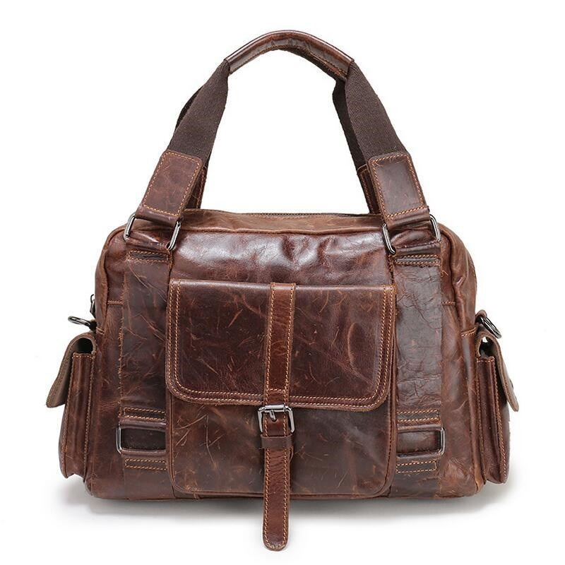 YOOFISH Vintage Crazy Horse Briefcases Men Genuine Leather Messenger Bags 14 Laptop Handbags Cow Leather Business Bag ylang vintage crazy horse cowhide briefcases men messenger bags 15 laptop handbags genuine leather briefcase business bag