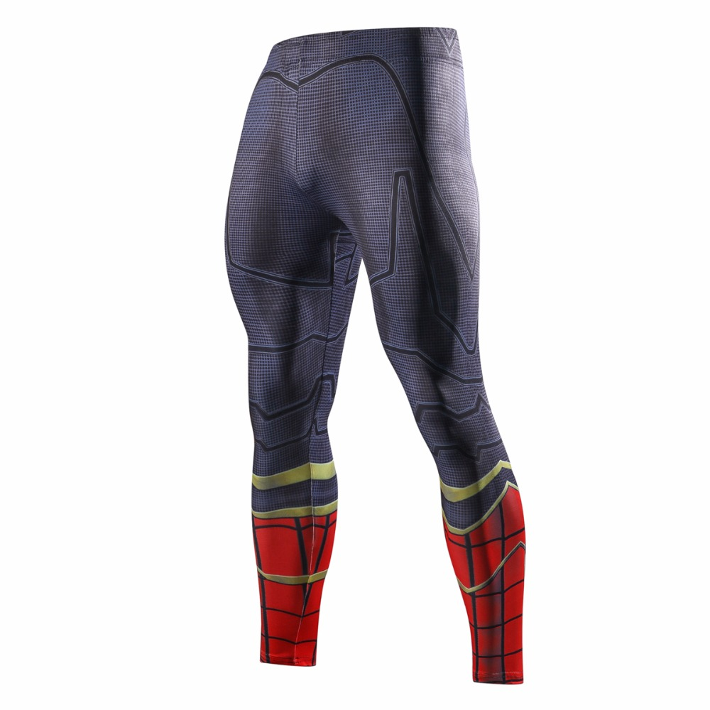 Avengers 3 Spiderman 3D Printed Pattern Compression Tights Pants Men Captain America 2018 Fitness Skinny Leggings Trousers Male