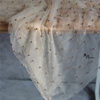 1 Yard High Quality Designer Lace Material Nude Color Net Tulle Mesh Lace With Heavy Pearls