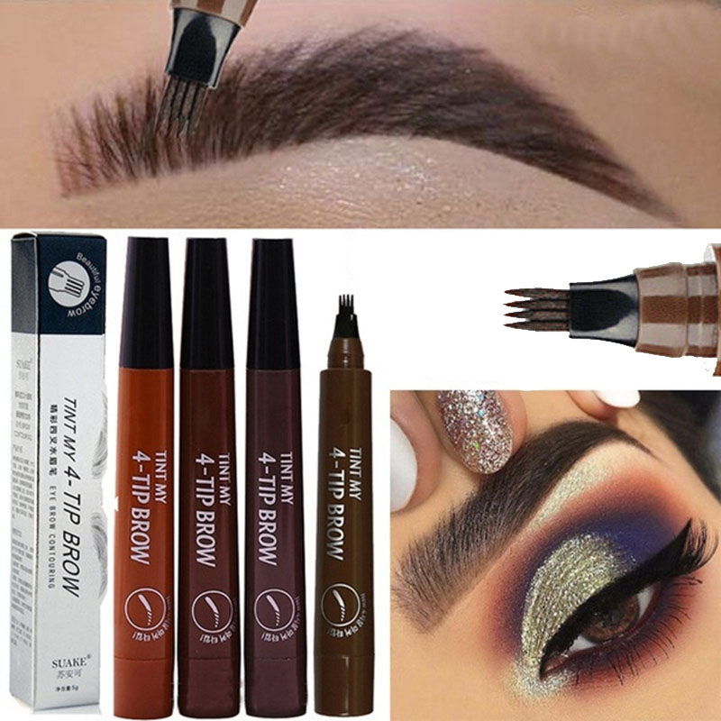 TINT MY 4-TIP BROW Liquid Eyebrow Pencil Waterproof Microblading Fork Tip Fine Sketch Eye Brow Tattoo Tint Pen Korean Cosmetics(China)