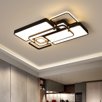 Creative fashion modern Led ceiling chandelier living room bedroom study room square black and white remote control chandelier