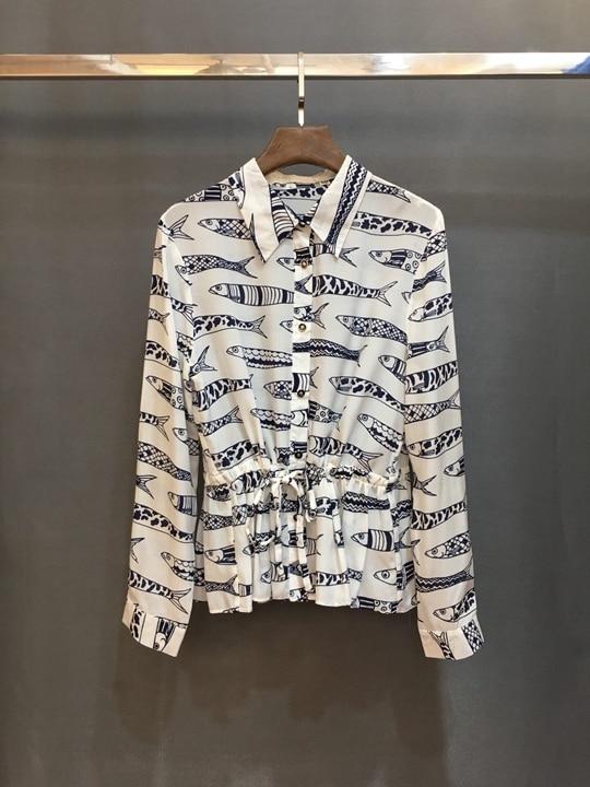 Blanc Début Du Les Et Shirt117 Poissons 2019 Taille unis L'europe Au Femmes Revers Petits Imprimer De Ceinture Nouveau États Décorée Printemps 5qfWWRwEp