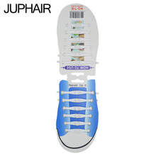 JUP1-12 Sets(12 Root/Set)Pure White Lace Shoelace Flat Elastic Silicone Men Women Sneakers Sport Basketball Running Shoes Round