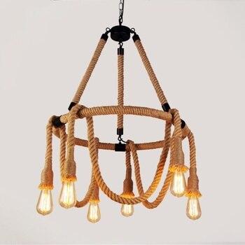 Hemp Rope Retro Pendant Lamp Vintage Industrial Style LOFT Pendant Lights Living Room Dining Room Bar Cafe Kitchen Hanging Lamps