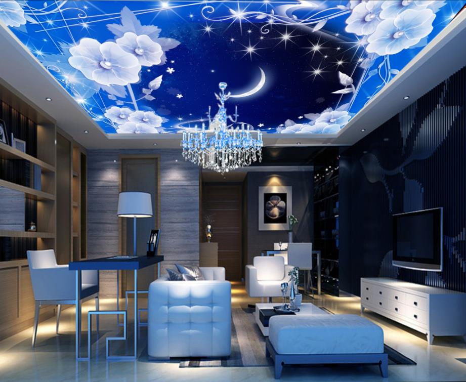 Customized Mural Wallpaper 3d Ceiling Star Moon Wallpaper Fashion 3d Ceiling Photo Wallpapers For Living room Bedroom Decorative custom photo wallpaper 3d stereoscopic sky ceiling cloud wallpapers for living room mural 3d wallpaper ceiling