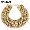 MAINILAI Chunky Metal Statement Necklace For Women Neck Bib Collar Choker Necklace Maxi Jewelry Golden & Silver Colors Bijoux