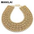 MAINILAI de Metal Grueso Collar de la Declaración Para Las Mujeres collar de Gargantilla Collar de Cuello Babero Maxi Colores Bijoux Joyas de Oro y Plata