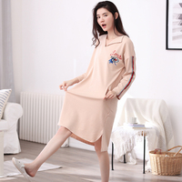 Autumn And Winter Female 100% Long sleeve Cotton Nightgown 100% Cotton Sleepwear Loose Lounge