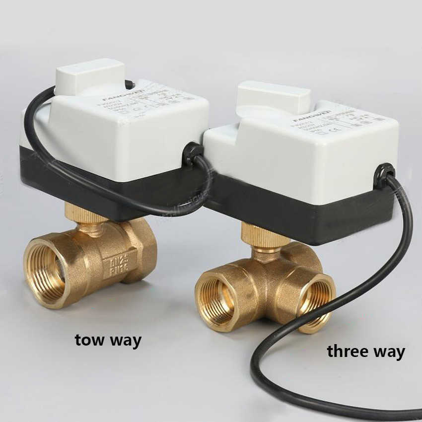 "AC220V DN15 (G 1/2 "") untuk DN 50 (G 2"") 2 Way 3 Kabel Kuningan Motorized Ball Valve/Electric Actuator Motor dengan Saklar Manual Fungsi"