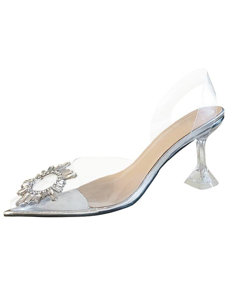 Дизайнерские прозрачные туфли из ПВХ с пряжкой и стразами; женская обувь с открытым носком и ремешком сзади; брендовые сандалии на высоком каблуке - 5
